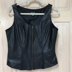 New York & Company Leather Zip front Vest